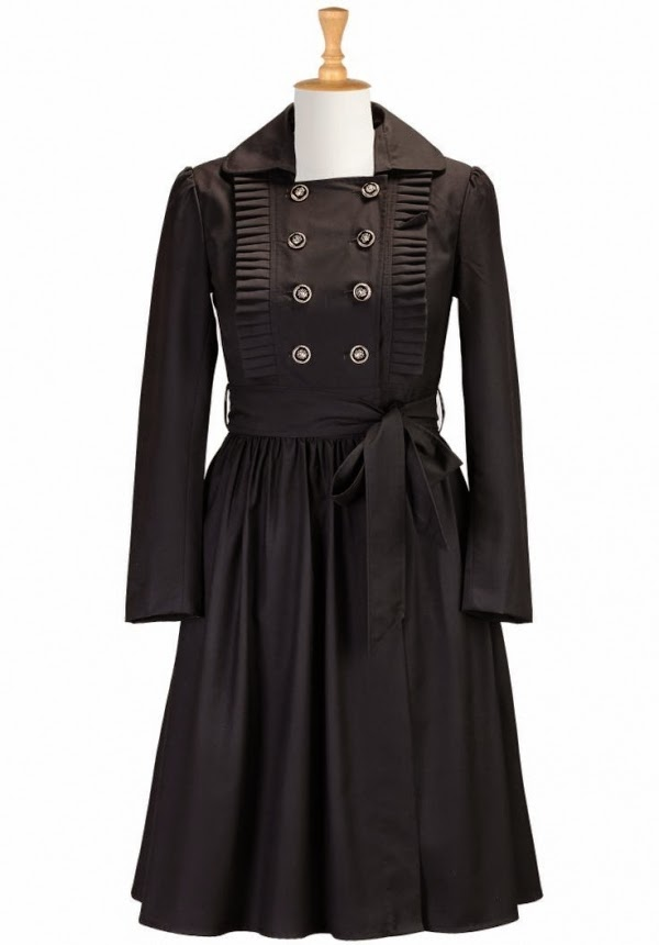 Pleated Military Style Coat Dress