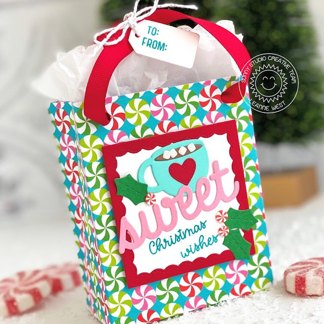 Sunny Studio Stamps: Sweet Treat Gift Bag Sweet Treats House Sweet Word Die Season's Greetings Warm & Cozy Christmas Treat Bag by Leanne West