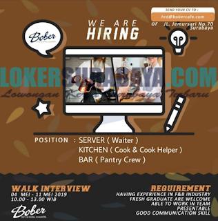 Walk In Interview di Bober Cafe & Ruang Comunitas Surabaya Terbaru Mei 2019