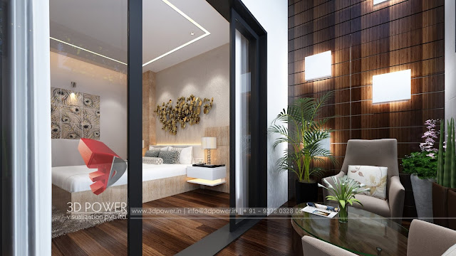 3D Interior Rendering for Balcony