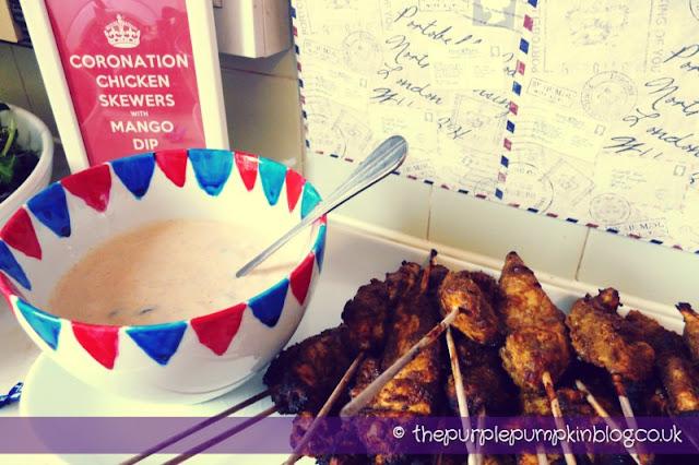 Coronation Chicken Skewers with Mango Dip