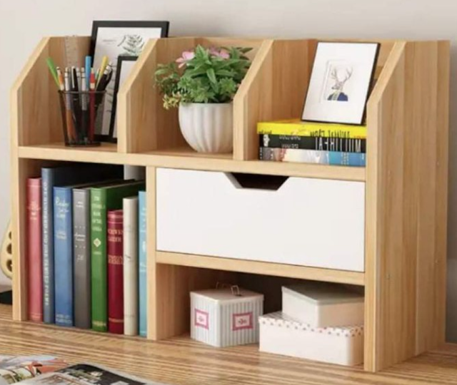 bookshelf with drawer