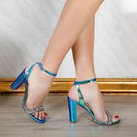 Sandale dama cu toc de ocazii albastre