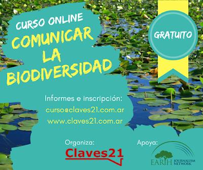 Flyer digital del curso de periodismo ambiental sobre comunicación de la biodiversidad de Claves21.com.ar
