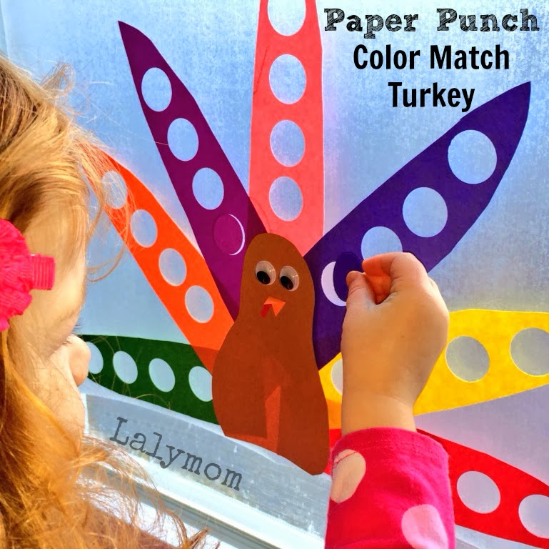 Paper Punch Color Match Turkey- A Thanksgiving Fine Motor Activity