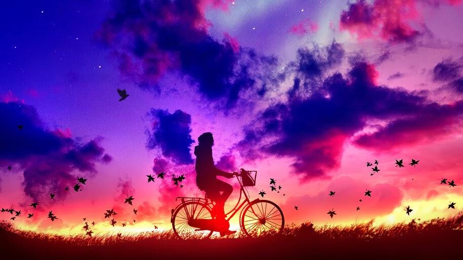 Bicycle, Boy, Silhouette, Sunset, Clouds, Sky, Scenery, Digital Art, 4K, #6.1254