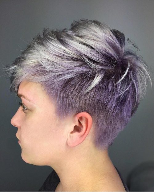 purple balayage for short hair