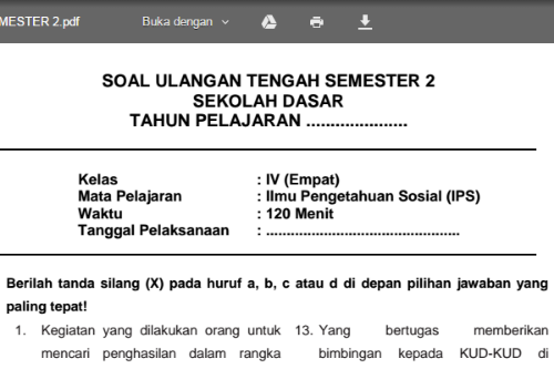 Soal Latihan Uts Ips Kelas 4 Sd Mi Semester 2