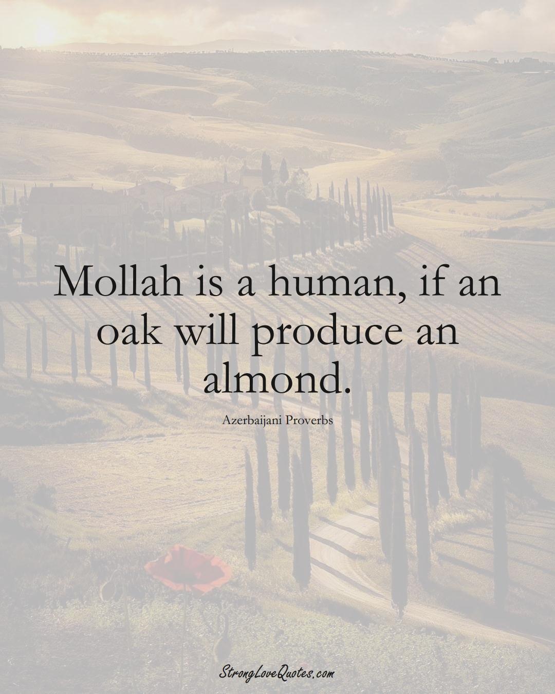 Mollah is a human, if an oak will produce an almond. (Azerbaijani Sayings);  #AsianSayings