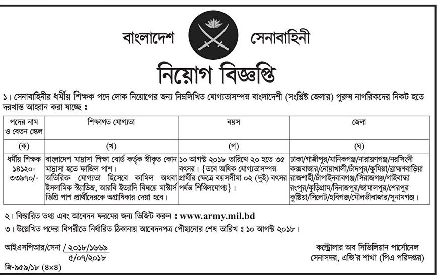 Bangladesh Army Civilian Job Circular 2018