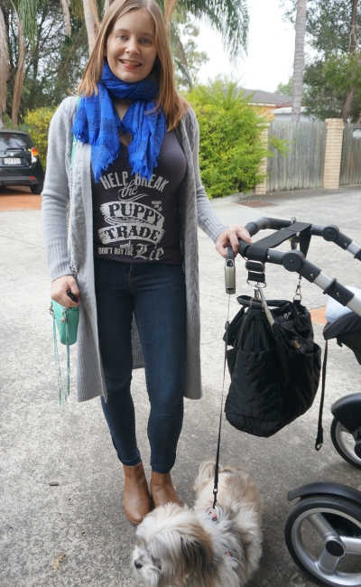 Oscar's Law graphic tee Jeanswest prima skinny jeans grey cardi SAHM winter style | Away From Blue
