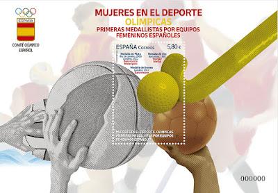 Hoja bloque, sello, deporte, olímpico, mujer, equipo