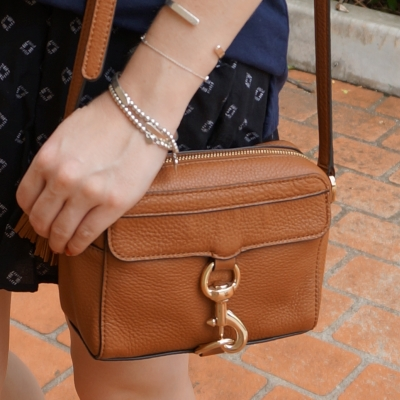 black printed shorts, Rebecca Minkoff MAB Camera Bag in almond | away from the blue