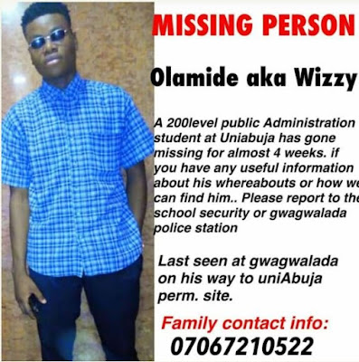 University Of Abuja Student Missing For 4 Weeks (Photo)