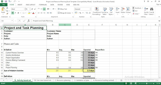 project task planning template excel