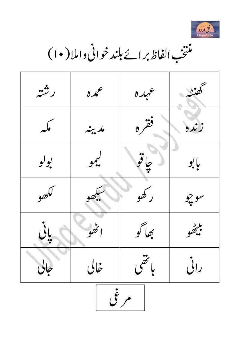 Urdu ke muntakhib alfaz  baraye baland khani wa imla (10)