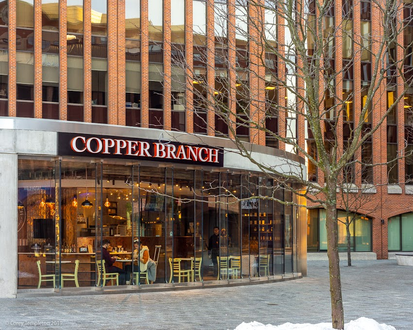 Portland, Maine USA December 2019 photo by Corey Templeton. A new Copper Branch location in Canal Plaza. Happy to see a tenant in this interesting structure.