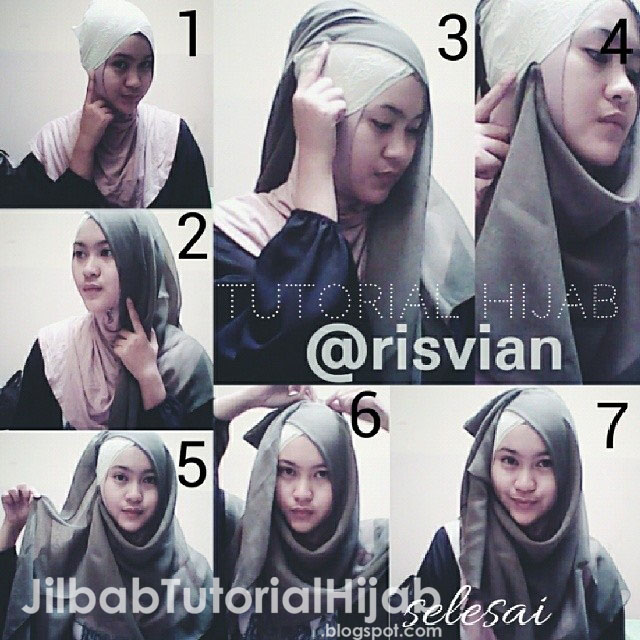 tutorial hijab segi empat terbaru modis untuk sehari-hari wajah bulat 2016