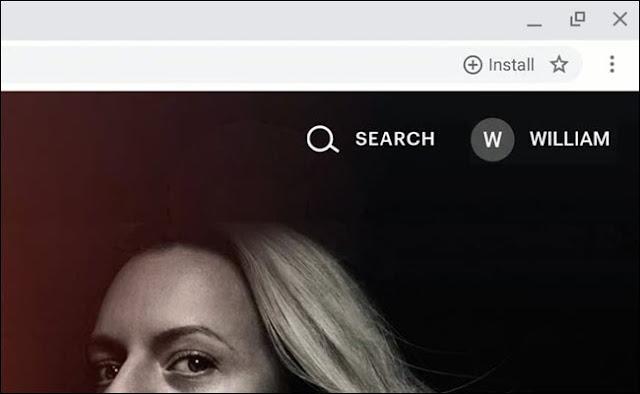 Google Chrome Omnibox ، يعرض زر تثبيت التطبيق التدريجي على الويب.