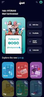 tampilan aplikasi ipot menu login