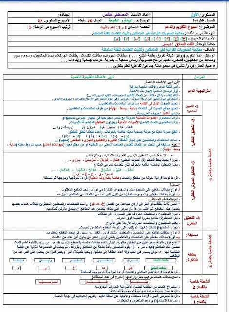 جذاذات القراءة المقطعية للمستوى الأول الأسبوع 27 ( تقويم و دعم )