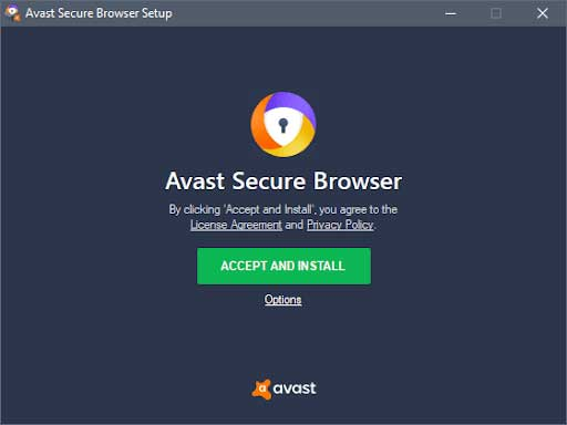 accept and install avast browser, download