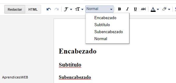 Encabezados, subtítulos y subencabezados blogger - Captura