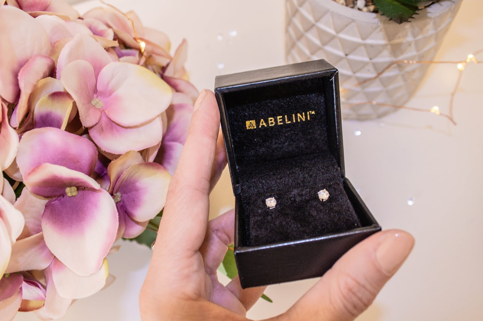 Diamond stud earrings from Abelini Jewellery Hatton Garden
