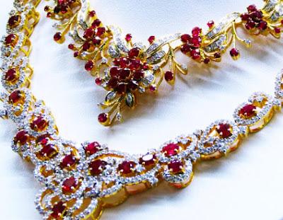 Ruby Diamond Jewelry Necklace