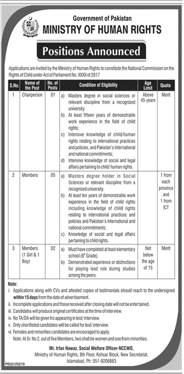 Jobs in Ministry of Human Rights Govt of Pakistan