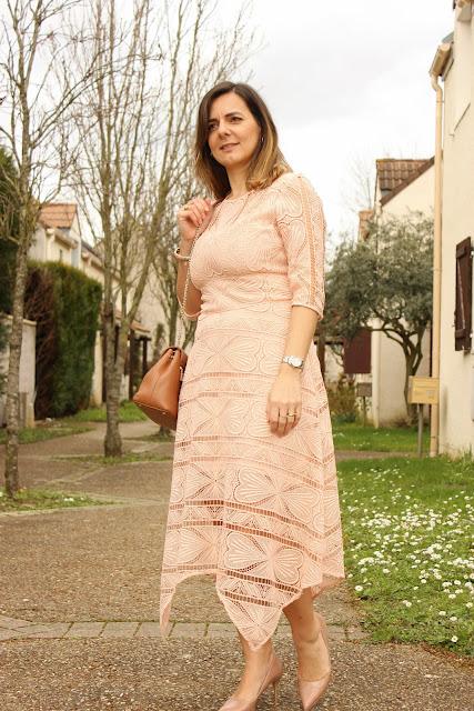 robe rose Maje, sac lancaster like Polène, look du jour, les petites bulles de ma vie