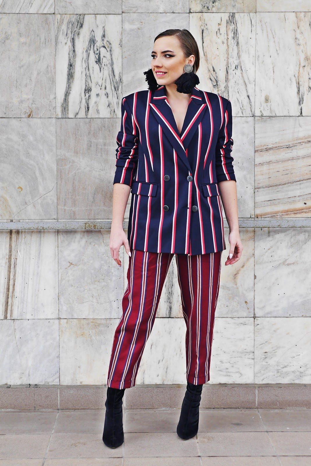 stripes jacket pants suit mango socks boots karyn blog modowy fashion blog
