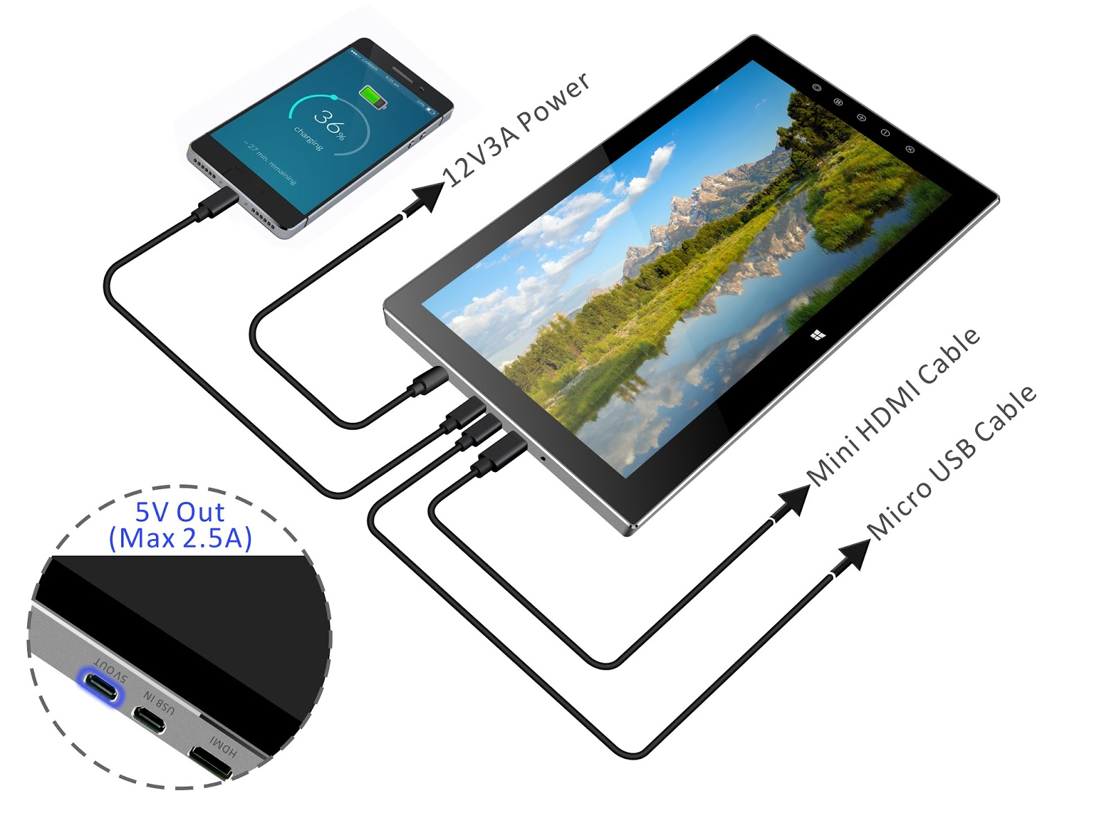 Magedok T133a 1080p Fhd Capacitive Touch Portable Monitor Magedok