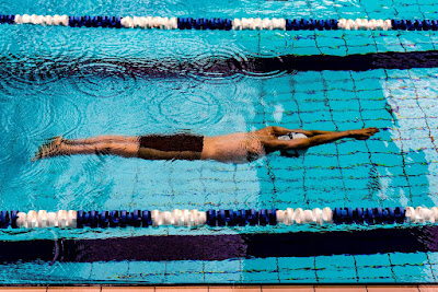 Picture or a swimmer doing a torpedo in the pool. This is another of my games for swimming lessons