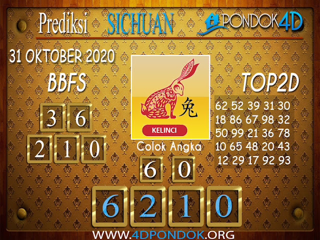 Prediksi Togel SICHUAN PONDOK4D 31 OKTOBER 2020