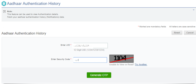 How to Check Online Aadhaar Authentication History