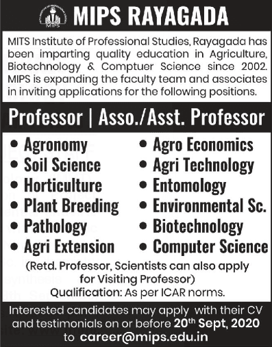 MIPS Rayagada Biotech/Agricultural Sciences Faculty Jobs