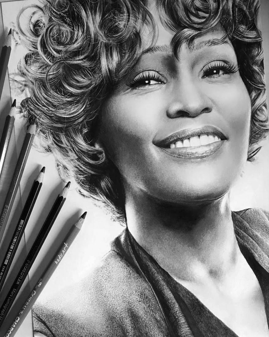 07-Whitney-Houston-Eduardo-Calil-Celebrity-Portrait-Drawings-Color-and-Black-and-White-www-designstack-co
