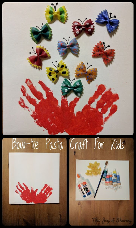 Easy Craft, Kids Crafts, Bow-tie pasta craft, simple craft, colorful craft, fun craft