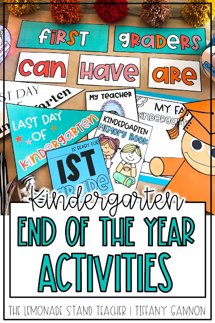 Looking for kindergarten end of the year activities?!  This fun end of the year pack has all you need to finish the year with lots of fun!  End of the year pennant flags for last day photos, memory book, anchor chart pieces, student hats, a graduation craft, and more!  Click here to read more about it!