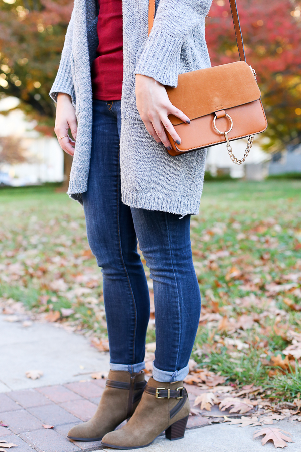 Naturally Me, Fall Outfit Idea, How to Wear a Long Cardigan, Zaful Long Cardigan, Grey Cardigan, Tan Bag