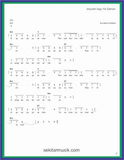 not angka ya saman hal 2 lagu daerah sumatera selatan