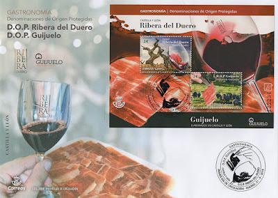 sobre, filatelia, hoja bloque, sello, Denominación de Origen, vino, Ribera del Duero, jamón, Guijuelo