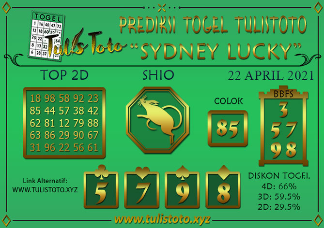 Prediksi Togel SYDNEY LUCKY TODAY TULISTOTO 22 APRIL 2021