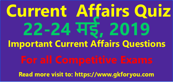 Quiz On Current Affairs: 22-24 May, 2019