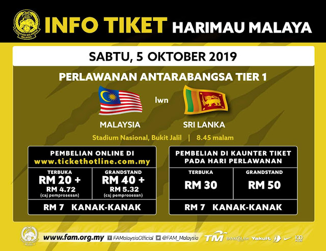 Harga Tiket Malaysia vs Sri Lanka Friendly Match 5.10.2019