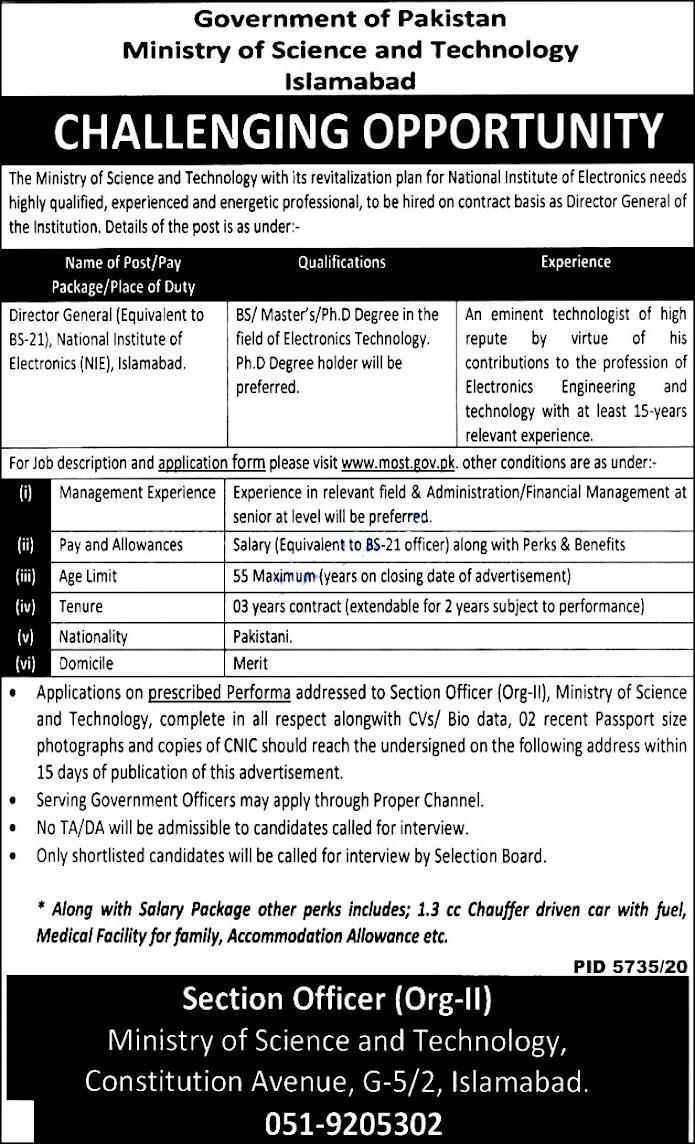 Government Latest Jobs For Ministry of  Science And  Technology MOST Islamabad 2021