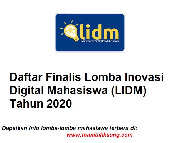 Daftar Finalis Lomba Inovasi Digital Mahasiswa LIDM Tahun 2020 tomatalikuang.com