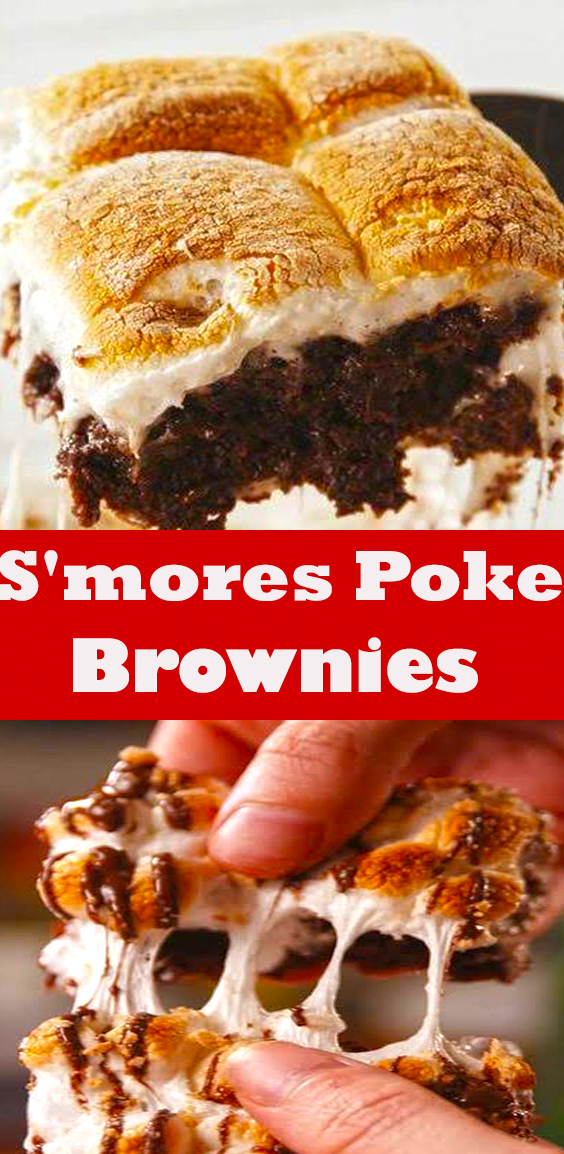 S'mores Poke Brownies #delish #easy #recipe #smores #poke #brownies #smoresbrownies #baking #easydesserts #summerdesserts #minimarshmallows #marshmallow