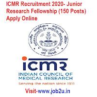 ICMR Recruitment 2020, Junior Research Fellowship